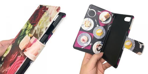 0707235511 人気のiPhone7オリジナル手帳型ケースにブラック.