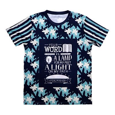 後縫製総柄Tシャツ